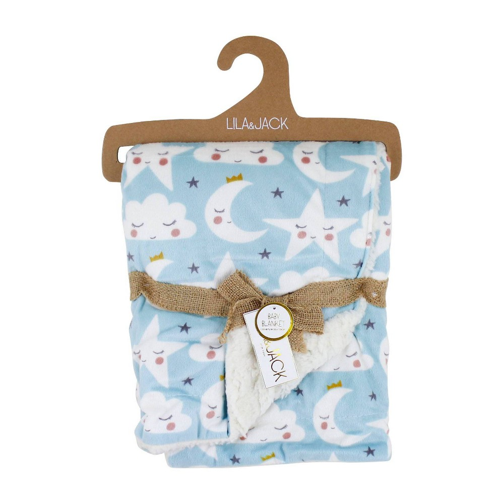 Image of Lila and Jack Baby Blanket Blue Star Moon Mink With Natural Sherpa Backing, White
