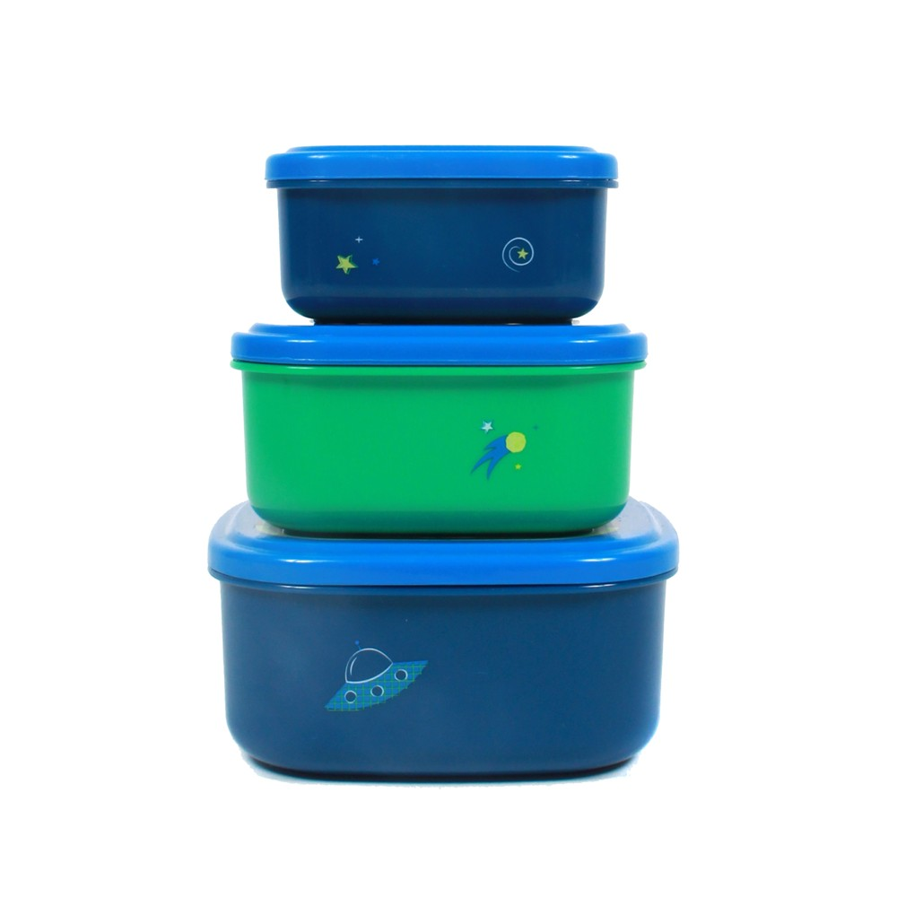 Cheeky 3pk Food Storage Set Space Dinosaur Blue/Green