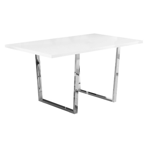 36 X 60 Dining Table Glossy Chrome Metal White Everyroom