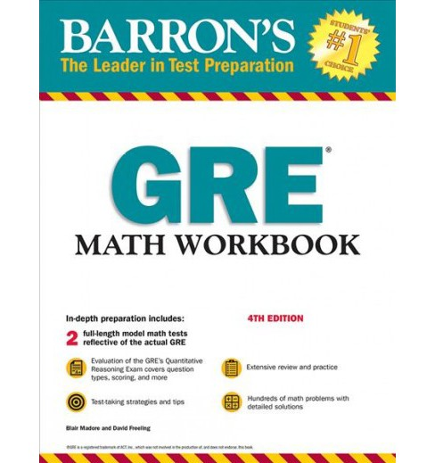 Barron's GRE Math Workbook -  by Ph.D. Blair Madore & David Freeling (Paperback) - image 1 of 1