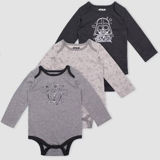 Baby Boys' Star Wars 3pk Bodysuit Set - Heather Gray 6-9M