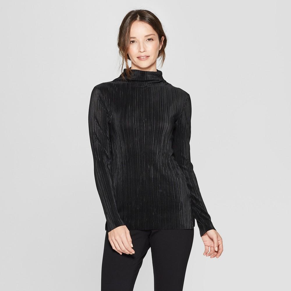 Women's Long Sleeve Crushed Pleat Turtleneck T-Shirt - Prologue Black M