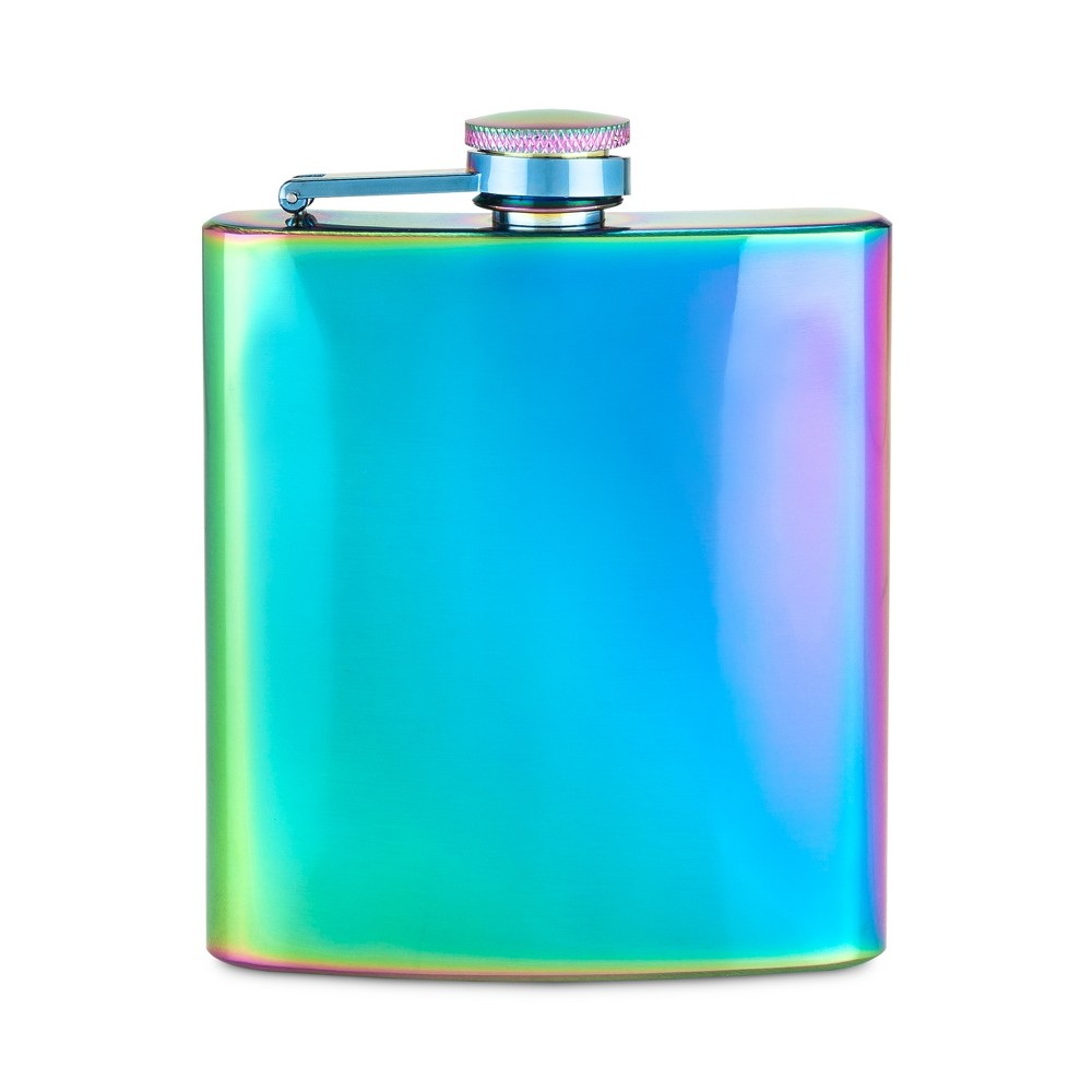 True Fabrications 6oz Stainless Steel Party Flask - Blue/Green/Purple, Multi-Colored