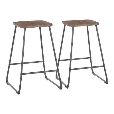 Set of 2 Zac Industrial Counter Height Barstool Espresso - LumiSource