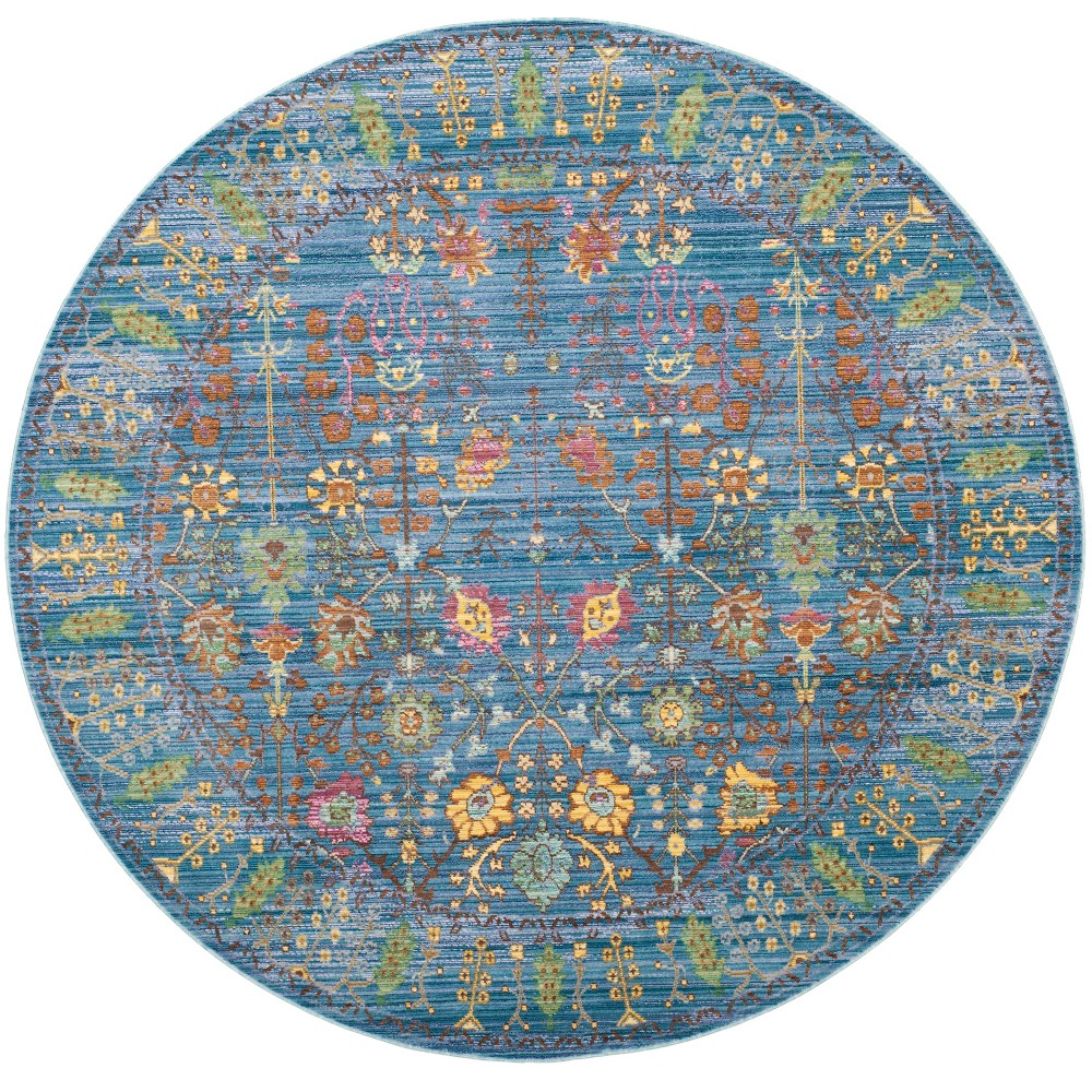 6'7 Floral Loomed Round Area Rug Blue - Safavieh, Blue/Multi-Colored