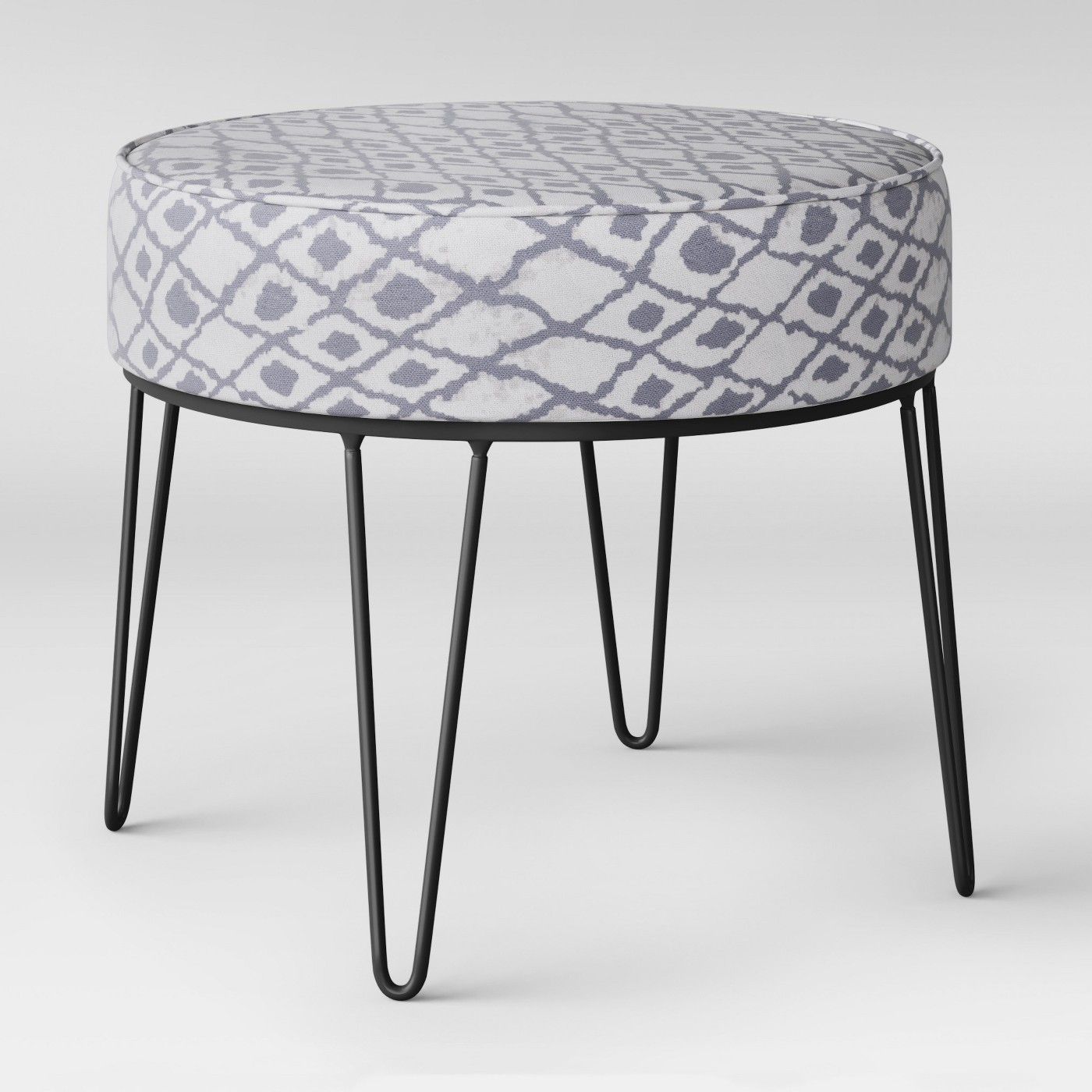 Carman Round Ottoman with Hairpin Legs Gray Ikat - Project 62™ - image 1 of 3