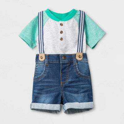 Baby Boys' Short Sleeve Casual Denim Suspender Set - Cat & Jack™ Gray/Blue Newborn