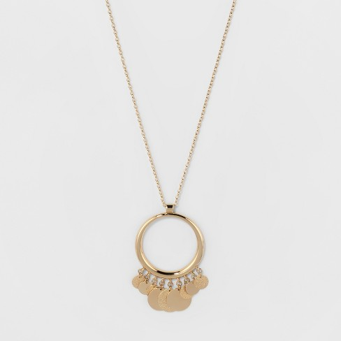 Open Ring, Diamond Dust & Plain Coins Long Necklace - A New Day™ Gold - image 1 of 3