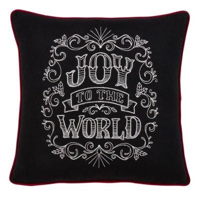 """16"""" Joy to the World Chalkboard Pillow Cover Black - SARO Lifestyle"""