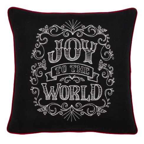 "16"" Joy to the World Chalkboard Pillow Cover Black - SARO Lifestyle - image 1 of 3"