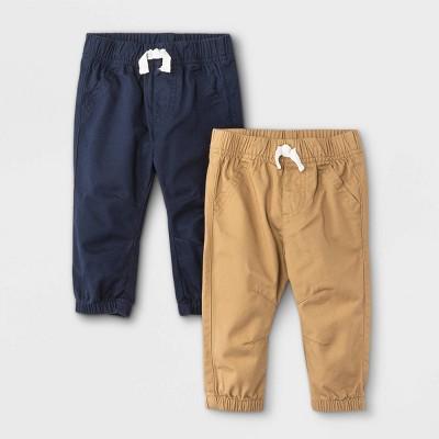 Baby Boys' 2pk Woven Jogger Pull-On Pants - Cat & Jack™ Khaki/Navy 12M