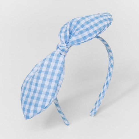 Toddler Girls  Gingham Bow Headband - Cat   Jack™ Blue   Target 0282e8b2371