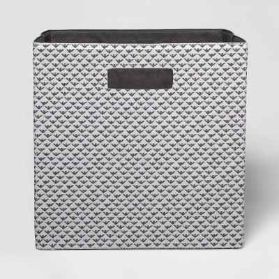 """13"""" Fabric Cube Storage Bin Fiaro Gray & White - Threshold™"""