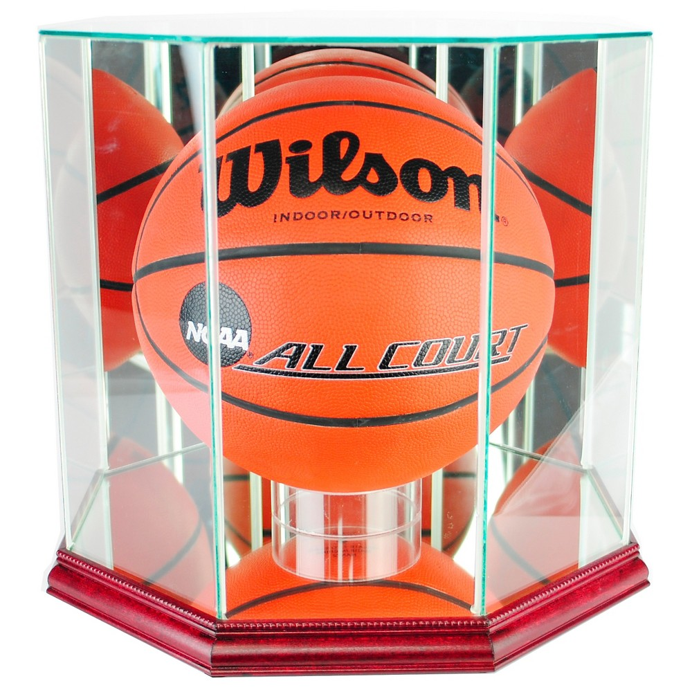 Perfect Cases - Octagon Basketball Display Case - Cherry Finish, Clear