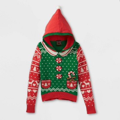 Girls' Traditional Hooded Ugly Pullover Sweater - Green