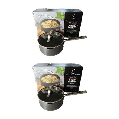 Emeril Lagasse Nonstick Hard Anodized Versatile 2 Quart Cooking Sauce Pan With Easy Pour Spout And Straining Lid Gray 2 Pack Target
