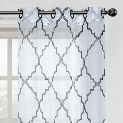 Kate Aurora 2 Pack Shabby Trellis Semi Sheer Clover Grommet Top Curtains