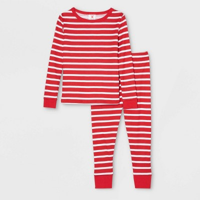 Toddler Striped 100% Cotton Tight Fit Matching Family Pajama Set - Red
