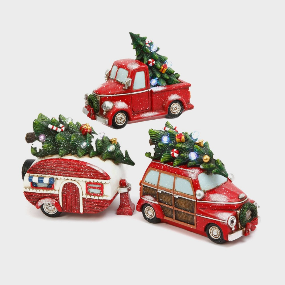 Image of 3ct Battery Operated Resin Christmas Vehicles with Timer Feature Decorative Figurine Set - Gerson International