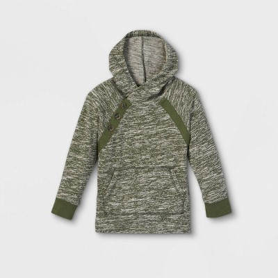 Toddler Boys' Hacci Pullover Hoodie Long Sleeve T-Shirt - Cat & Jack™ Olive Green 12M