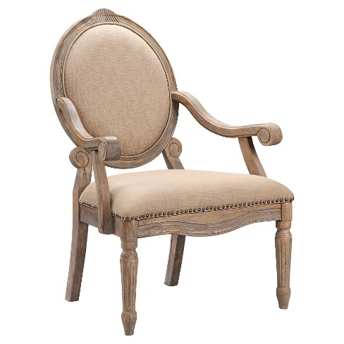 Brentwood Oval Back Exposed Wood Arm Chair - Linen - image 1 of 5