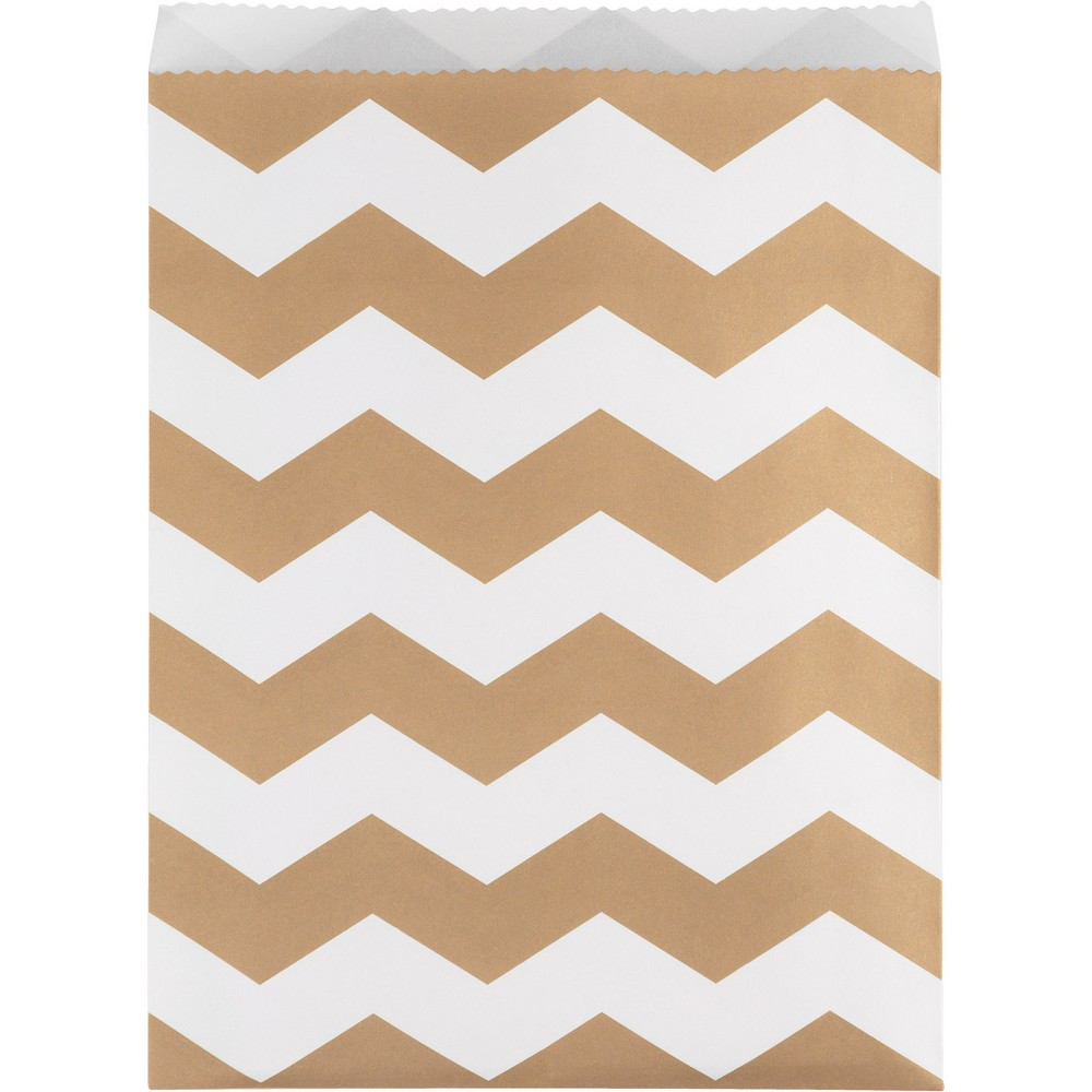 Image of 10ct Brown Chevron Stripe Treat Bags