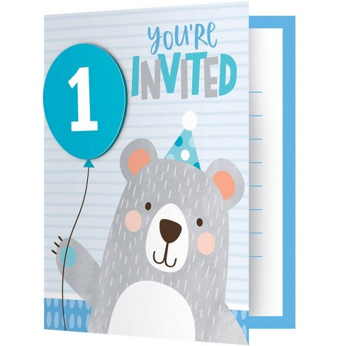 8ct 1st Birthday Bear Print Invitation