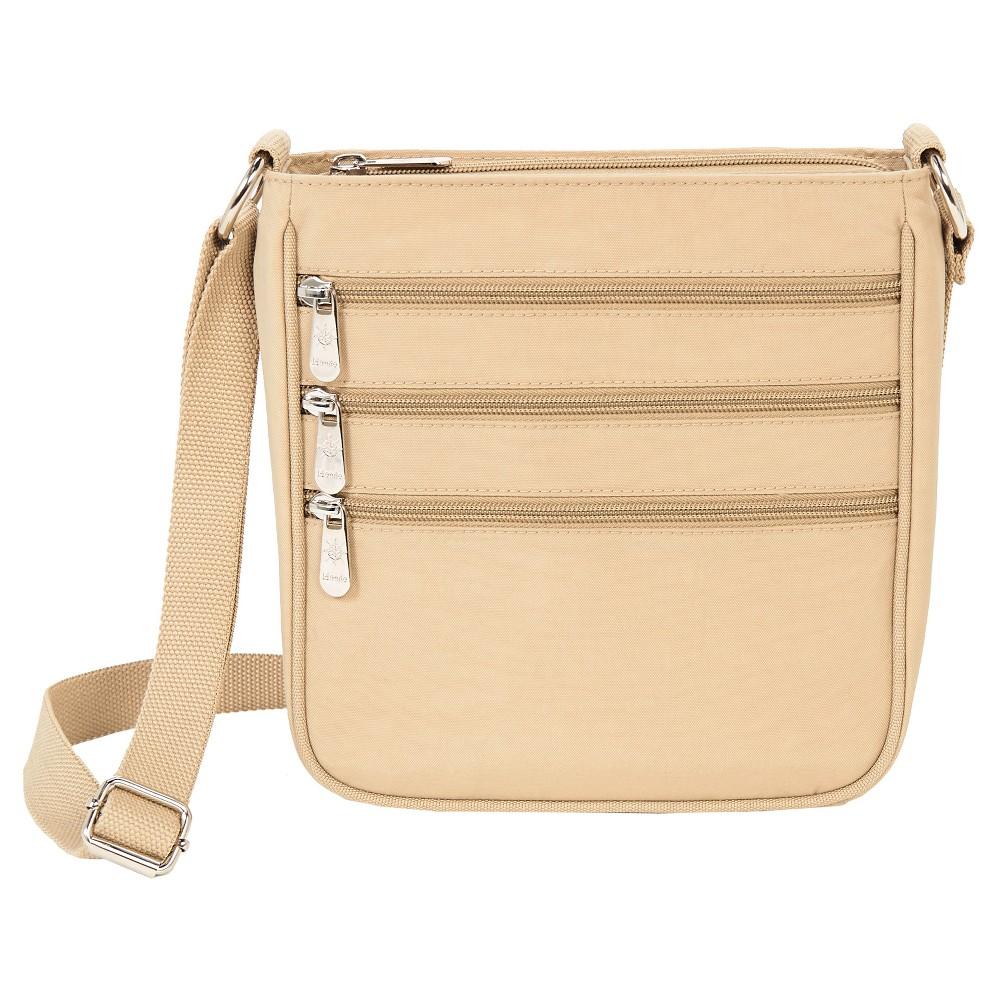 Image of Mondo Triple Zip Crossbody Handbag - Khaki, Women's, Size: Large, Beige