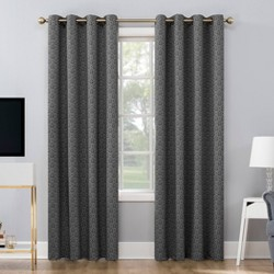 "52""x84"" Maritza Damask Jacquard 100% Blackout Grommet Top Curtain Panel Black/Cream - Sun Zero"