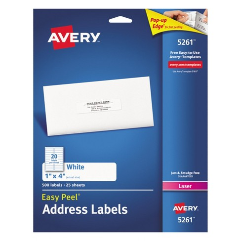 Avery 1 X 4 Laser Easy Peel Address Labels White 500 Per Pack