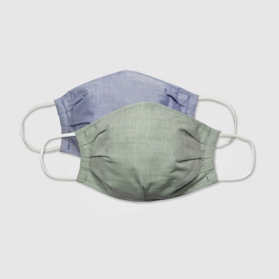 Women's 2pk Fabric Face Masks -  Universal Thread™ Mint Solid/Chambray L/XL