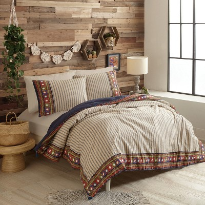 3pc Queen Hadarah Duvet Cover Set Navy - Justina Blakeney for Makers Collective