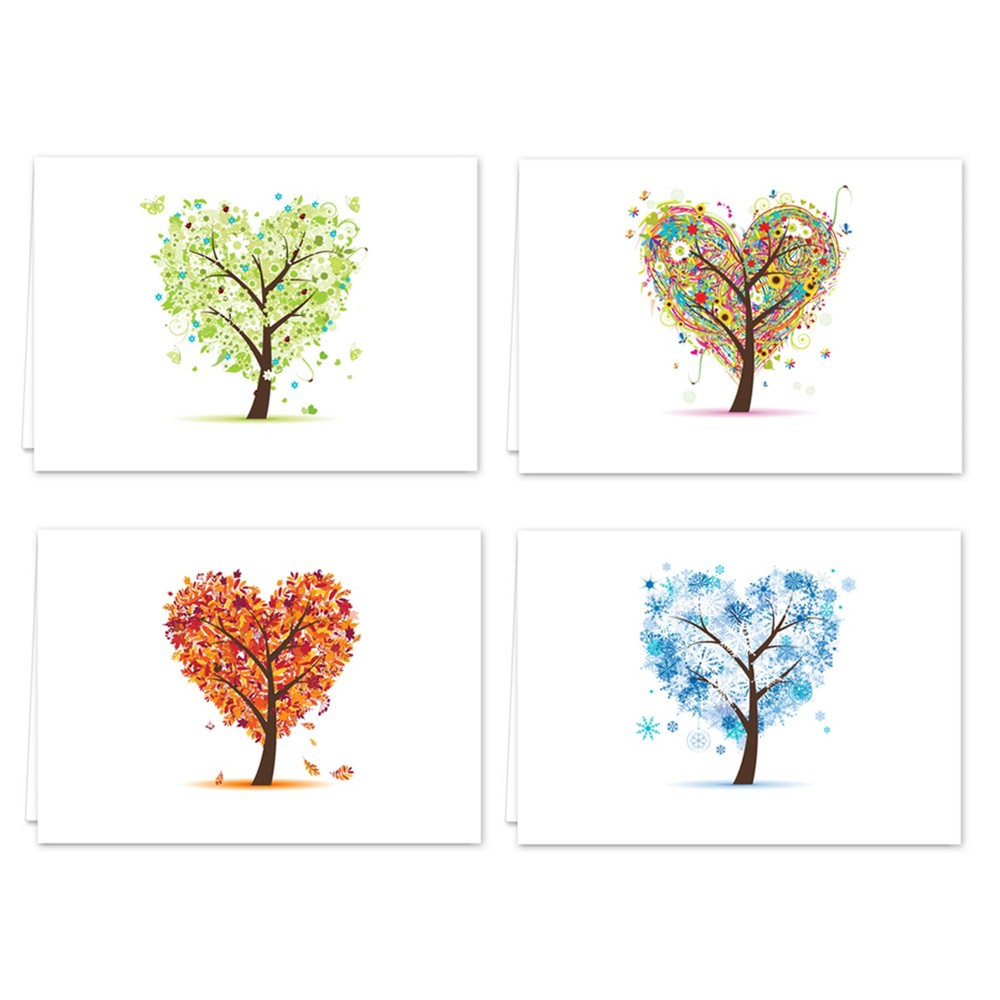 Image of 24ct Heart Tree Print Note Cards, Blue Green Red