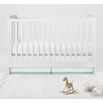 Bacati - White with band on bottom Crib/Toddler Bed Skirt - Mint