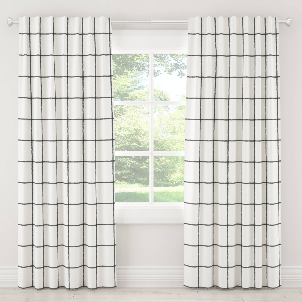 "Image of ""108"""" Tattersall In Line Blackout Curtain Gray - Cloth & Co., Size: 108"""""""