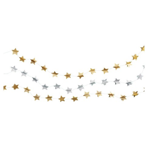 3ct Gold & Silver Star Garland - Spritz™ - image 1 of 1