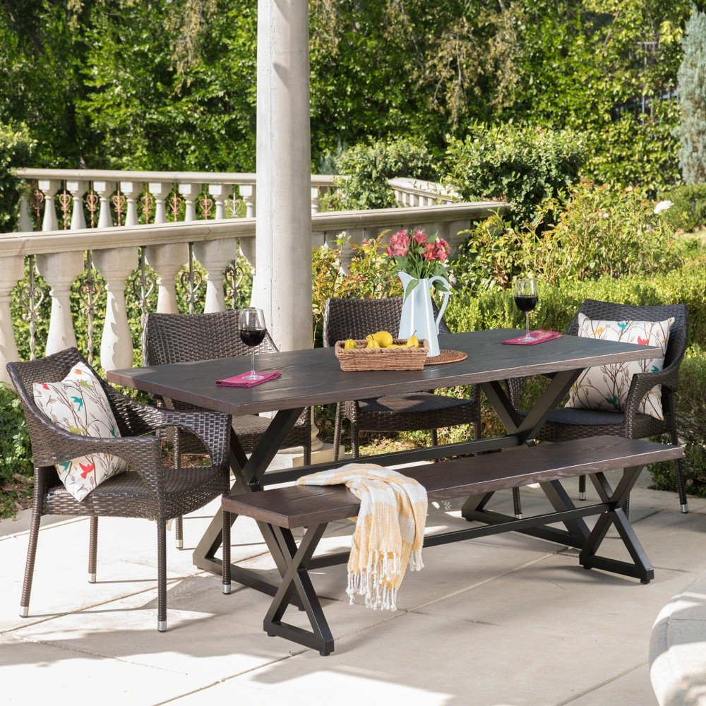 Isola 6pc Aluminum and Wicker Dining Set - Brown - Christopher Knight Home