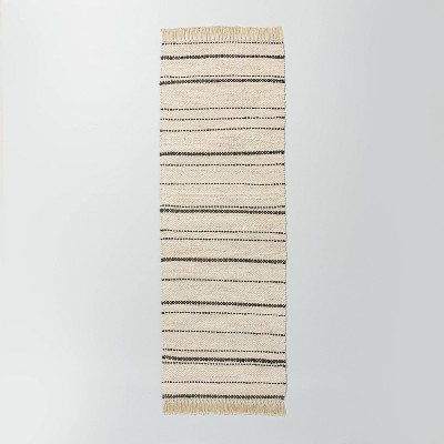 """2'4"""" x 7' Bleached Jute Variegated Stripe Area Runner Railroad Gray - Hearth & Hand™ with Magnolia"""