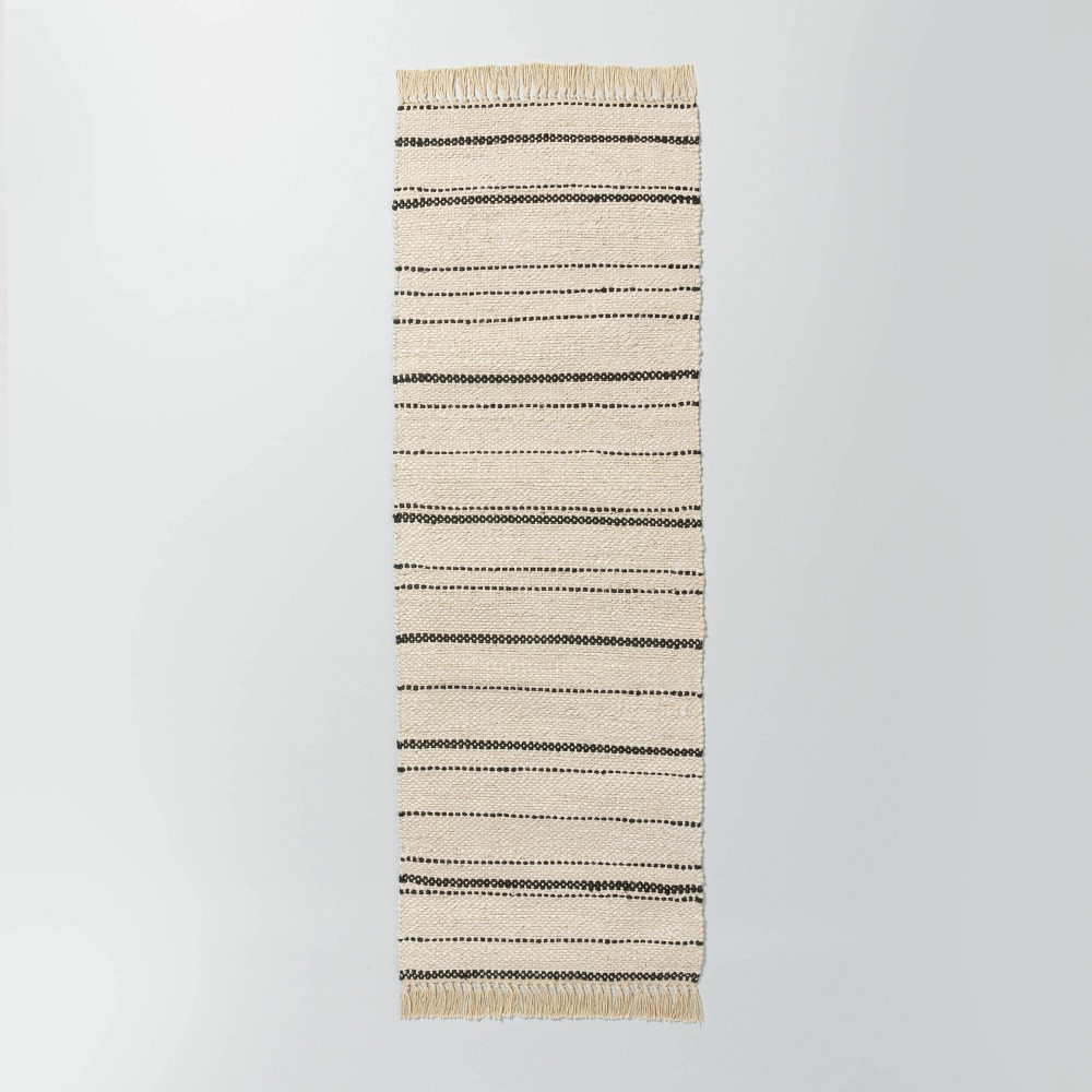 2 39 4 34 X 7 39 Bleached Jute Variegated Stripe Area Runner Railroad Gray Hearth 38 Hand 8482 With Magnolia