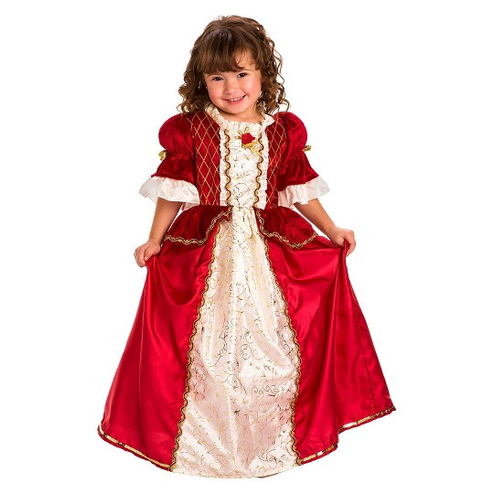 Little Adventures Girls' Winter Beauty Dress - XL, Gold/Ivory/Red image number null