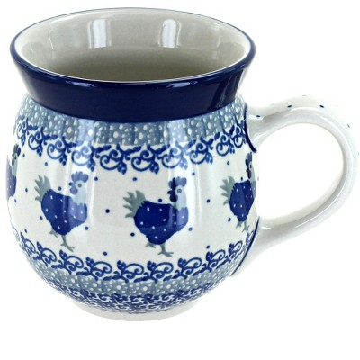 Blue Rose Polish Pottery Barnyard Rooster Bubble Mug