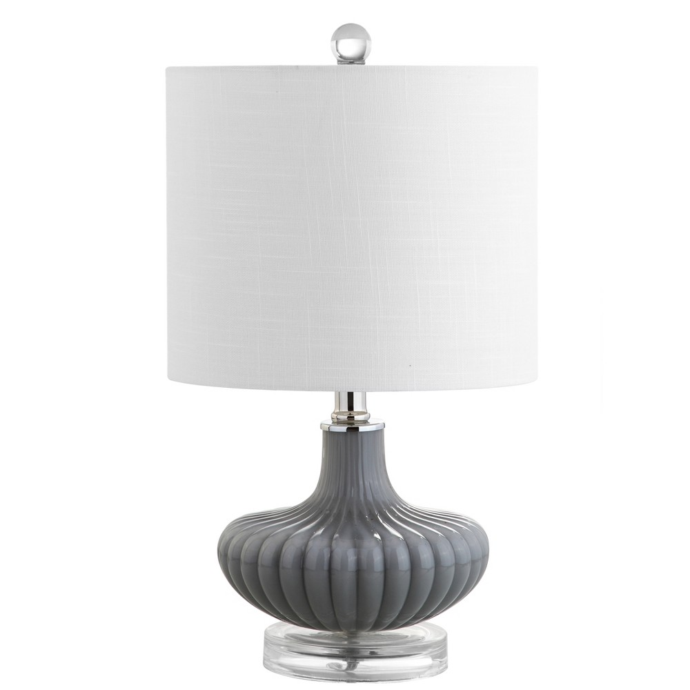"Image of ""18"""" Kamille Glass and Lucite LED Table Lamp Gray/Clear (Includes Energy Efficient Light Bulb) - JONATHAN Y"""