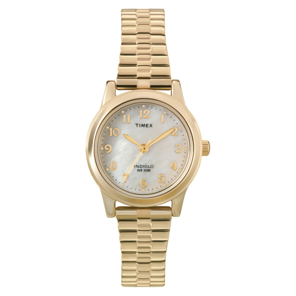 Women S Timex Expansion Band Watch Gold Mother Of Pearl T2m827jt
