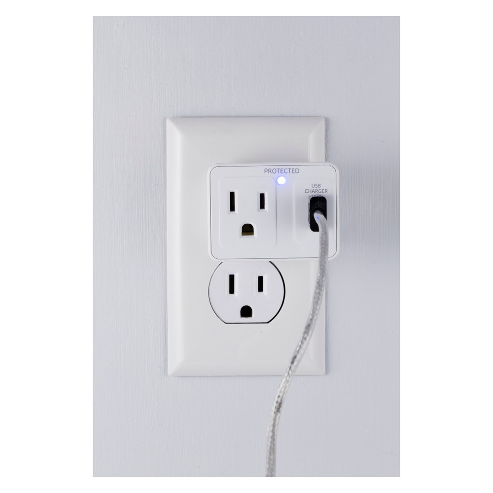 GE 1 - Outlet Surge Protector Tap with Usb Charging, 14521, White Protect your household electronics from dangerous power surges while keeping your mobile device charged with the GE 1-Outlet Surge Protector Tap with Usb Charging. This single outlet surge protector features a single Usb outlet for charging your Usb-powered devices and a protection indicator light, letting you know at a glance your component is safe. The GE Surge Protector Tap with Usb Charging comes equipped with a 300 Joules protection rating and is backed by a limited-lifetime warranty. Color: White.