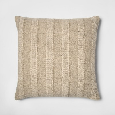 Washed Cotton/Linen Stripe Oversize Square Throw Pillow Neutral - Threshold™