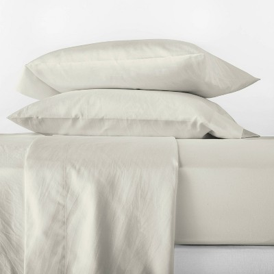 King 500 Thread Count Washed Supima Sateen Solid Sheet Set Natural - Casaluna™