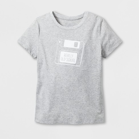 "Women's Short Sleeve ""Old School"" Graphic T-Shirt - Heather Gray - image 1 of 2"