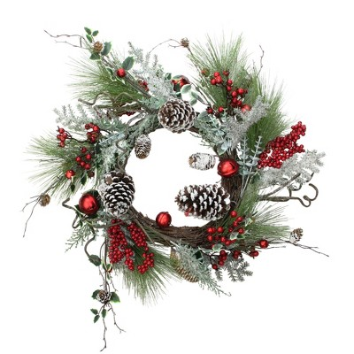 "Northlight 24"" Unlit Frosted Bells, Berries and Pine Cones Artificial Christmas Wreath"