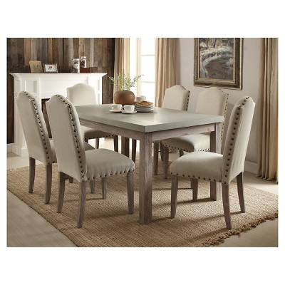Parker Dining Table   Concrete Gray Top And Salvage Oak   Acme