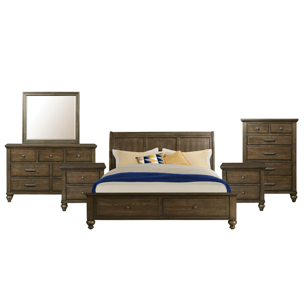 Image of 6pc Queen Channing 2 Drawer Storage Bedroom Set Dark Walnut - Picket House Furnishings
